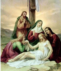Jesús es bajado de la cruz y puesto en brazos de su Madre