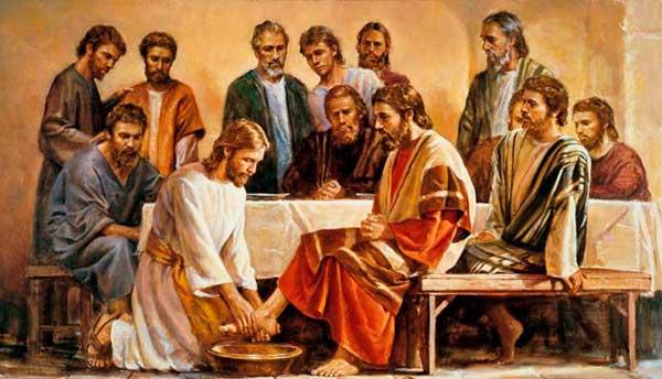 Lavado de pies de los apóstoles por Jesús.