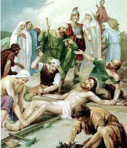 Jesús es clavado en la cruz – la Crucifixión.