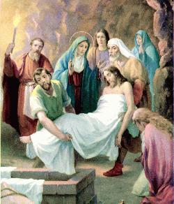 El cuerpo de Jesús es colocado en la tumba.
